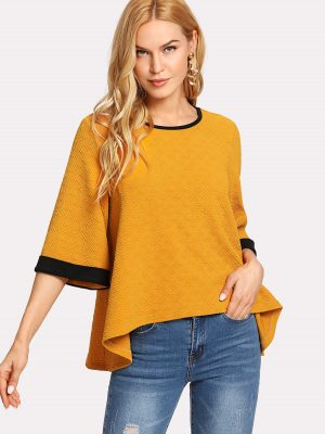 Golden Wide Sleeve Blouse